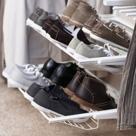 Gliding Shoe Shelf 6 Pair White 266710 Organise At